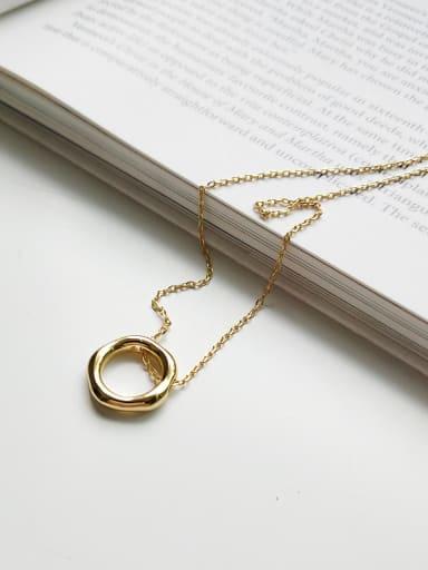 Sterling silver irregular ring golden necklace