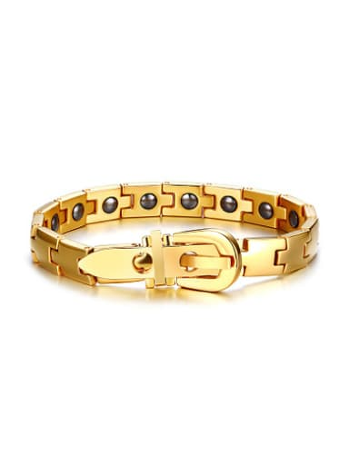 Adjustable Gold Plated Stainless Steel Stone Bracelet