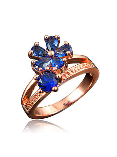 Luxury Blue Rose Gold Plated Flower Zircon Ring