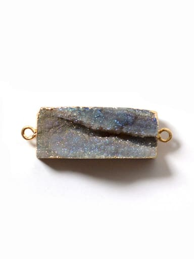 Personalized Rectangular Grey Agate Stone Pendant