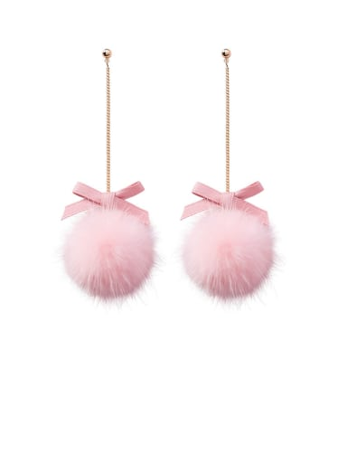 Alloy With Rose Gold Plated Cute Long Bow Hairball  Drop Earrings