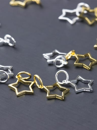925 Sterling Silver With Silver Plated five-pointed star Charms