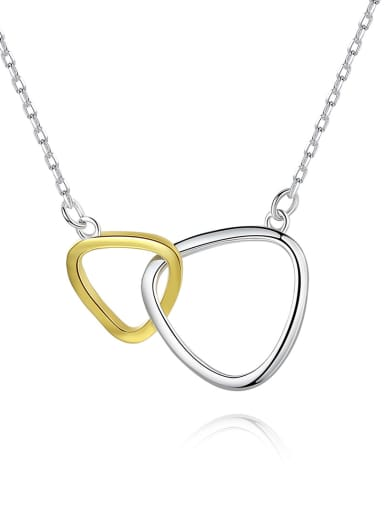 Sterling silver triangular double ring necklace