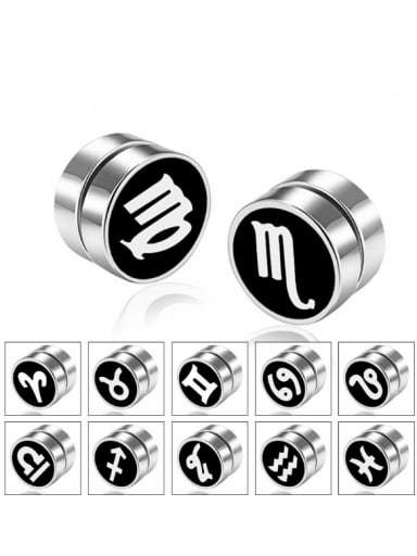 Stainless Steel With Fashion Round signs of the zodiac dumbbell Stud Earrings