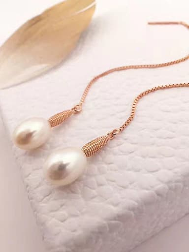 Fashion Oblate Freshwater Pearl threader earring