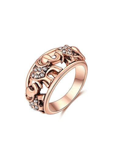 Fashion Rose Gold Plated Elephant Shaped Rhinestone Ring