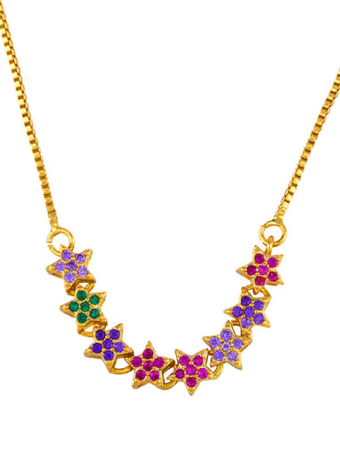 Copper With  Cubic Zirconia Fashion Flower Necklaces
