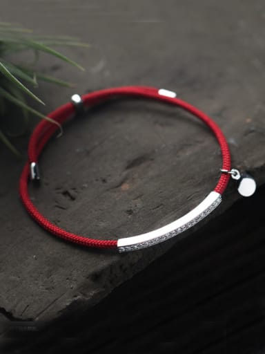 Sterling silver Minimalist hand-woven red thread bracelet