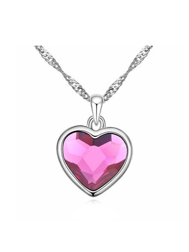 Simple Heart Swarovski Crystal Pendant Alloy Necklace