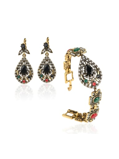 Retro style Black Resin stones Alloy Two Pieces Jewelry Set