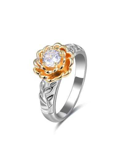 Exquisite Double Color Flower Shaped Glass Bead Ring