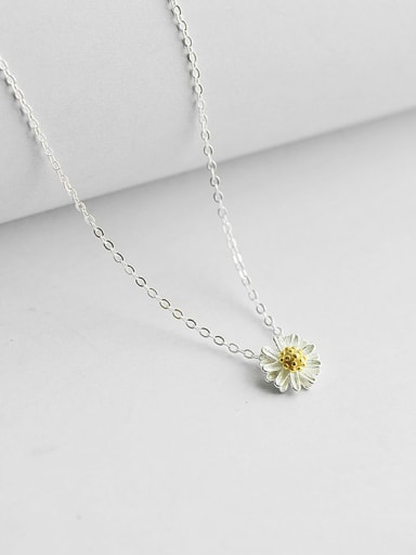 Simple Little Flower Pendant Silver Women Necklace