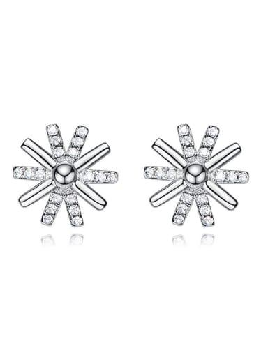 Simple Cubic Zirconias-studded Snowflake 925 Silver Stud Earrings