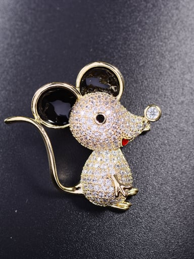 Copper With  Cubic Zirconia Cute Animal Mickey Mouse Brooches