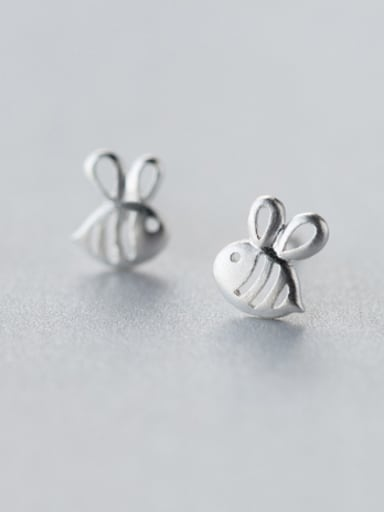 S925 silver sweet little bee stud cuff earring