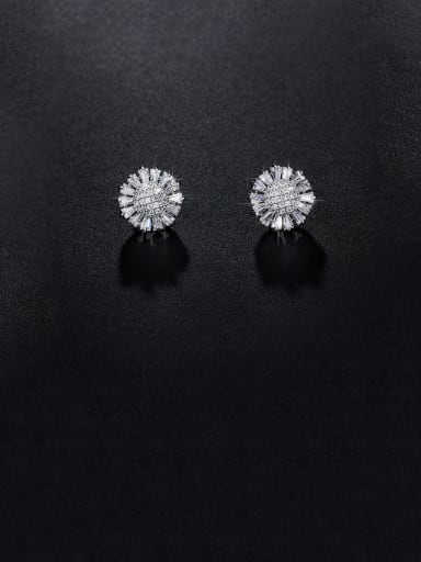 Copper With Platinum Plated Cute Flower Stud Earrings