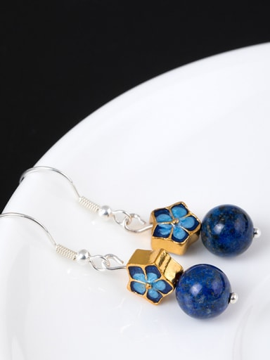 Ethnic style Blue Stone Bead Enamel Flower 925 Silver Earrings