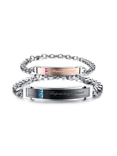 Fashion Zircon Titanium Plating Lovers Bracelet