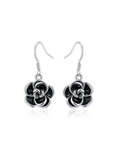 Black Rosary Shaped Enamel Drop Earrings