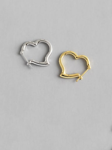 925 Sterling Silver With Smooth Simplistic Heart Clip On Earrings