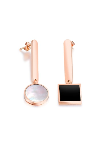 Fashion Black Square Round Shell Rose Gold Plated Stud Earrings