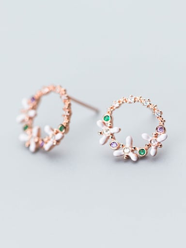 Exquisite Rose Gold Plated Flower Shaped Rhinestones Stud Earrings