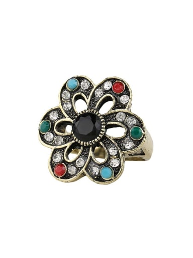 Retro style Cubic Resin stones Crystals Alloy Ring