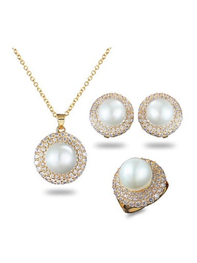 Temperament Round Shaped Artificial Pearl Three Jewelry Set