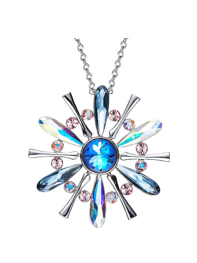 Fashion Swarovski Crystals Platinum Plated Sweater Chain
