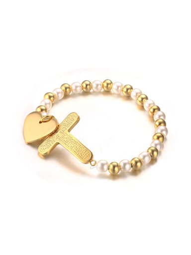 Fashionable Gold Plated Heart Shaped Pearl Charm Bracelet