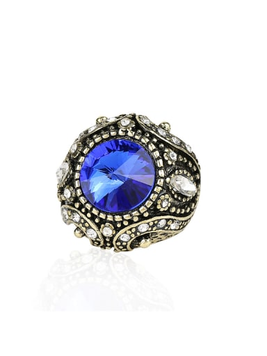 Retro Noble style Resin stone White Crystals Alloy Ring
