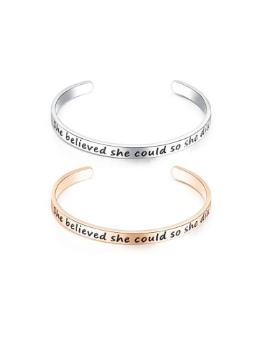 Titanium With Smooth  Simplistic Monogrammed Free Size Mens Bangles