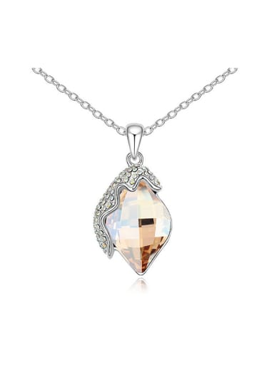 Simple Rhombus Tiny Cubic Swarovski Crystals Alloy Necklace