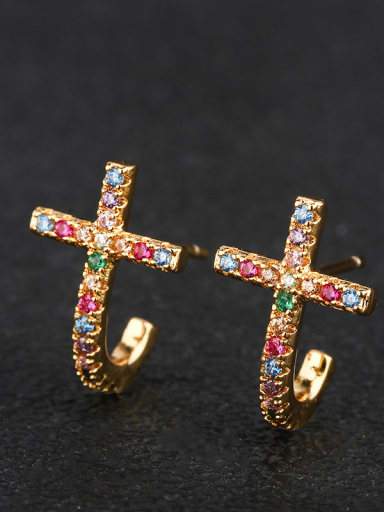 Copper With Cubic Zirconia Trendy Cross Cluster Earrings