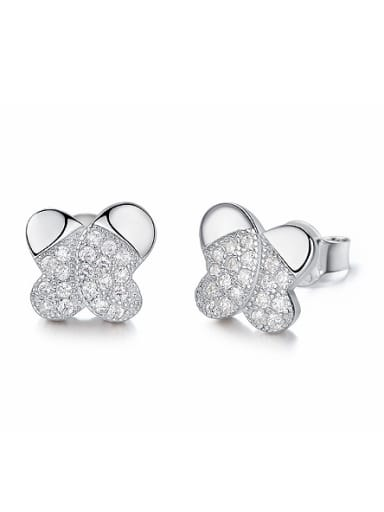 Tiny Butterfly Cubic Zirconias 925 Silver Stud Earrings