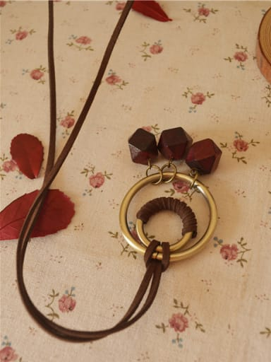Women Wooden Circles Shaped Necklace