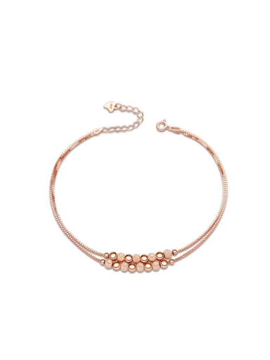 S925 Silver Balls Double Chain Women Anklet