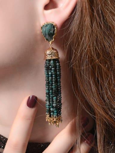 Artificial Stones Tassel Western Style Drop Earrings