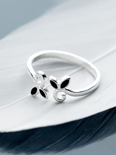 All-match Open Design Leaf Shaped Glue S925 Silver Ring