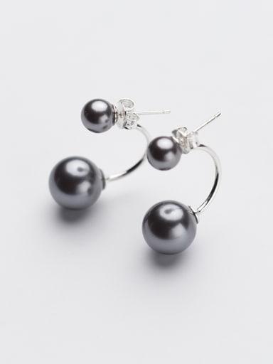 Personality Geometric Black Artificial Pearl S925 Silver Earrings