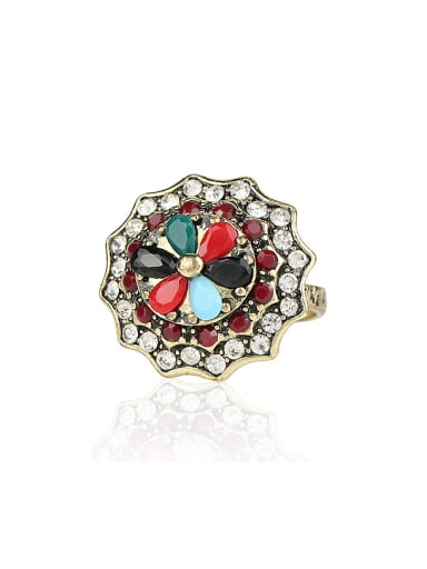 Classical Retro Resin stones Crystals Flowery Alloy Ring