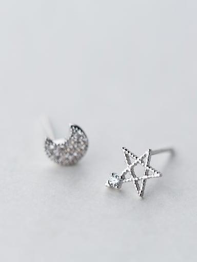 Elegant Moon And Star Shaped Asymmetric Rhinestone Stud Earrings