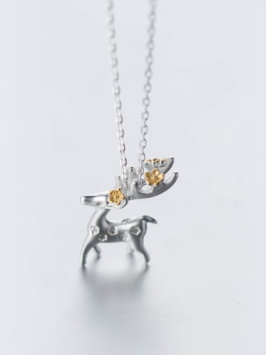 Lovely Deer Shaped Gold Plated S925 Silver Necklace