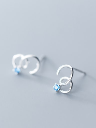 925 Sterling Silver With Silver Plated Simplistic Geometric Five Claws Stud Earrings