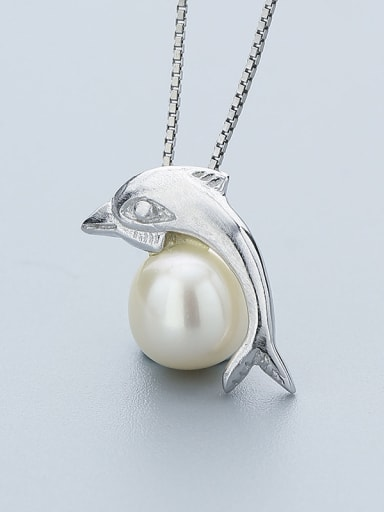 Dolphin Shaped Freshwater Pearl Pendant