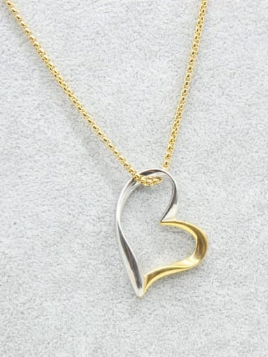 Color Plated Heart-shaped Pendant Necklace