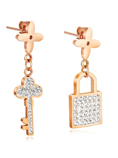 Copper With Rose Gold Plated Personality key and lock Stud Earrings