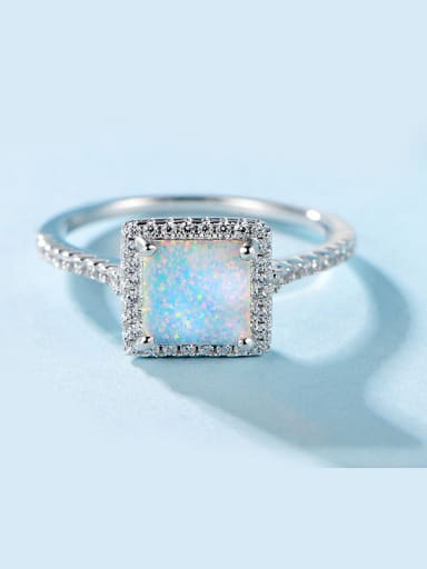 S925 Silver Opal Stone Engagement Ring