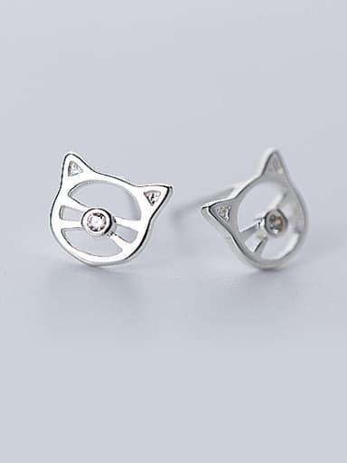 Lovely Cat Shaped Rhinestone S925 Silver Stud Earrings