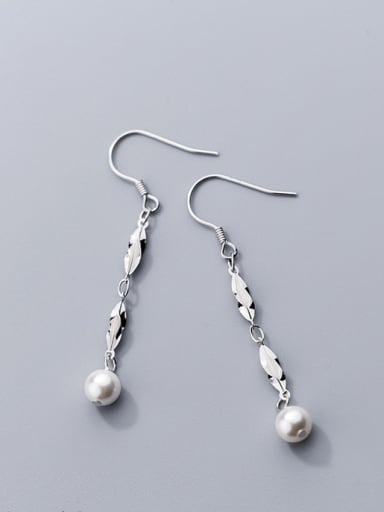 925 Sterling Silver Imitation Pearl Classic Charm Drop Earrings
